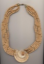Necklace made of sliced Conus shell, coconut and small glass beads, Philippines, inner length 24'' 60cm., outer length 26'' 66cm.