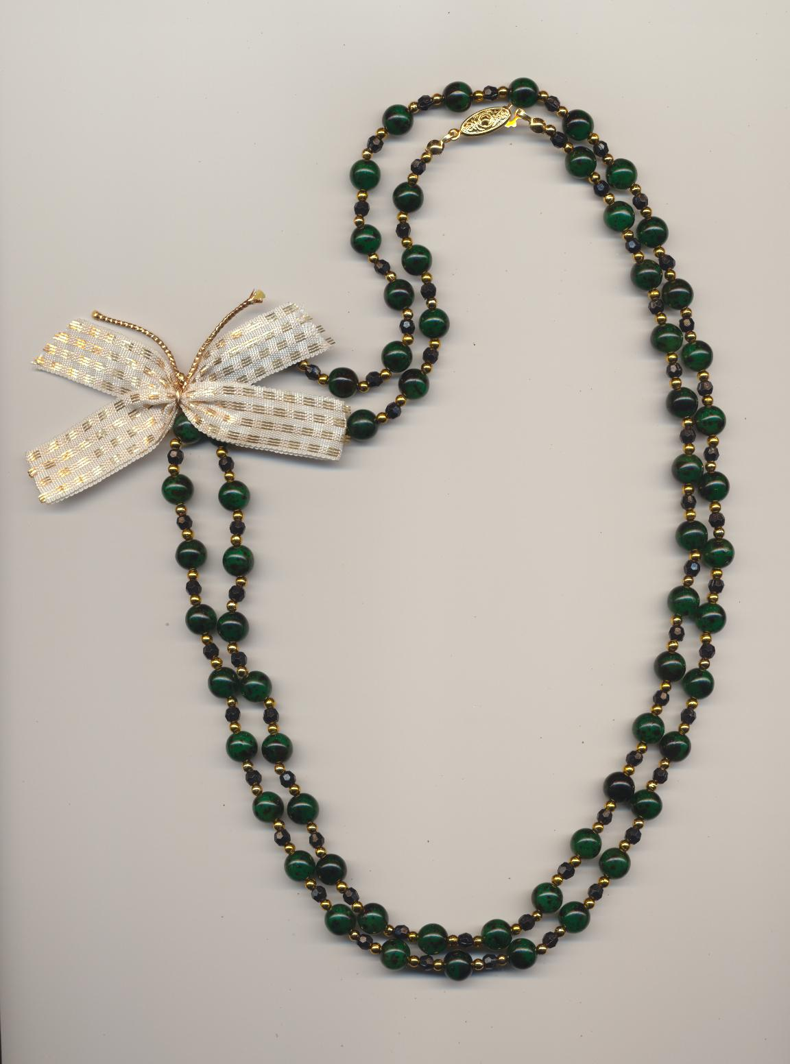 A necklace with a brooch with flair